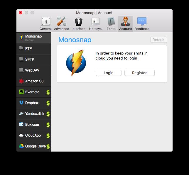 Monosnap - 画像アップロード